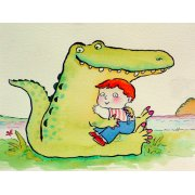 Tableau -Crocodile Hug, or Best Friends (pen & ink and w.c on paper)-
