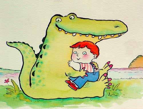 tableaux-pour-enfants - Tableau -Crocodile Hug, or Best Friends (pen & ink and w.c on paper)- - Christie, Maylee