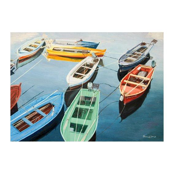 Tableau - Bright Boats at La Coruña, Spain -