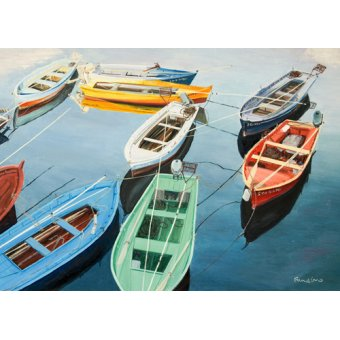 Tableaux de paysages marins - Tableau - Bright Boats at La Coruña, Spain - - Fandino, Anthony