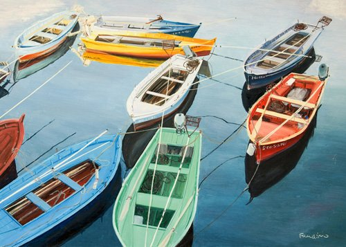 tableaux-de-paysages-marins - Tableau - Bright Boats at La Coruña, Spain - - Fandino, Anthony