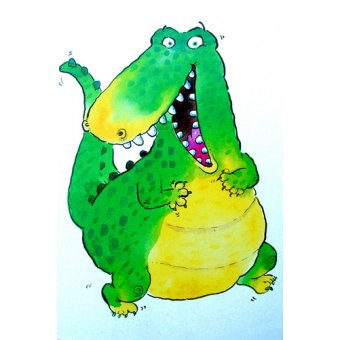 Tableaux pour enfants - Tableau -Happy Crocodile (w.c & ink on paper)- - Christie, Maylee