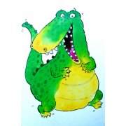 Tableau -Happy Crocodile (w.c & ink on paper)-
