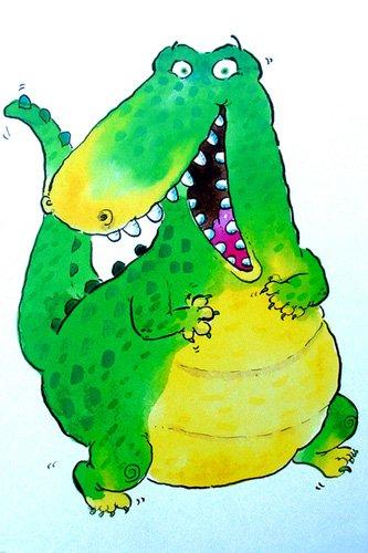 tableaux-pour-enfants - Tableau -Happy Crocodile (w.c & ink on paper)- - Christie, Maylee