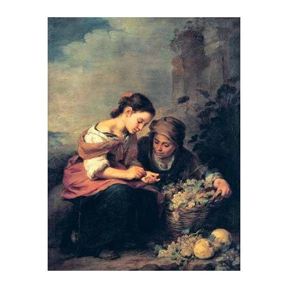 pinturas do retrato - Quadro -Niñas contando monedas-
