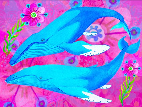 tableaux-pour-enfants - Tableau -Whales in Love, 2017 (mixed media)- - Christie, Maylee