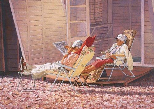 tableaux-modernes - Tableau -Evening Rest (oil on canvas)- - Cook, Simon