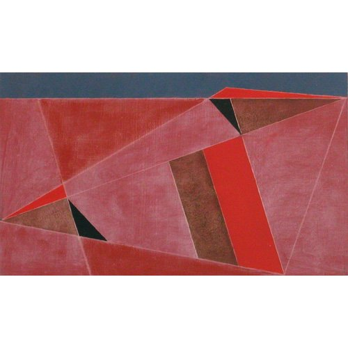 Tableau -Triangulated Red Landscape, 2002 (oil on board)-