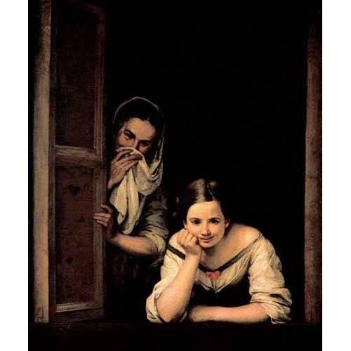 pinturas do retrato - Quadro -Gallegas en la ventana-