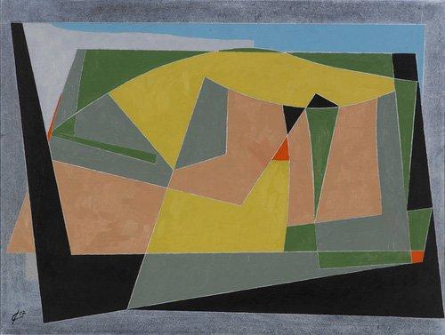 tableaux-abstraits - Tableau -A Landscape by the Sea, 2007 (oil on board)- - Dannatt, George