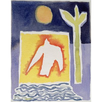 Tableaux abstraits - Tableau -Tree, Sun and Rising Bird, 1989 (w.c)- - Davidson, Peter