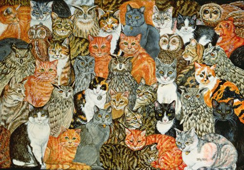 tableaux-modernes - Tableau -The Owls and the Pussycats- - Ditz