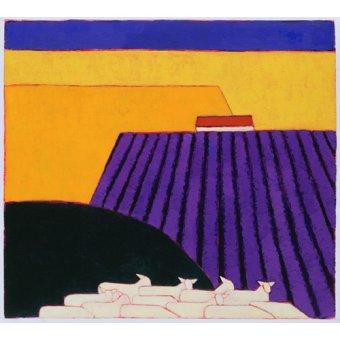 Tableaux de paysages - Tableau -Sheep and Lavender Fields, 2004- - Donne, Eithne