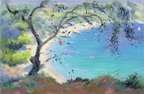 tableaux-de-paysages-marins - Tableau -Lichnos Bay, Epirus, Greece, 1995- - Durham, Anne
