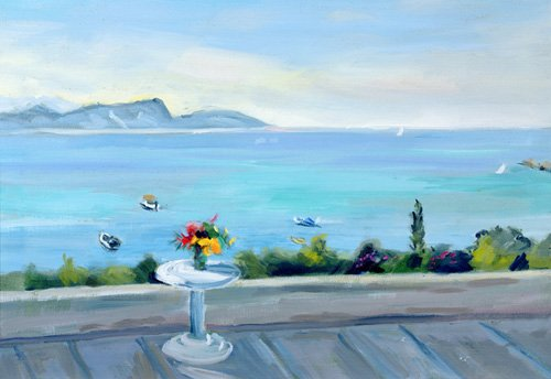 tableaux-de-paysages-marins - Tableau -A terrace looking out to sea- - Durham, Anne