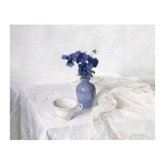 Tableau -Pansies in a Blue Vase, Still Life, 1990-