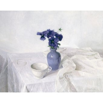Tableaux nature morte - Tableau -Pansies in a Blue Vase, Still Life, 1990- - Easton, Arthur