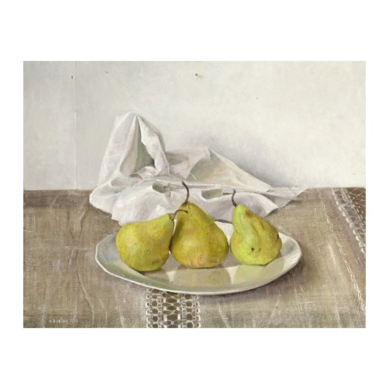 Tableau -Three Pears on a Plate, Still Life, 1990-