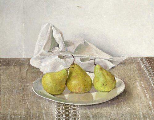 tableaux-nature-morte - Tableau -Three Pears on a Plate, Still Life, 1990- - Easton, Arthur