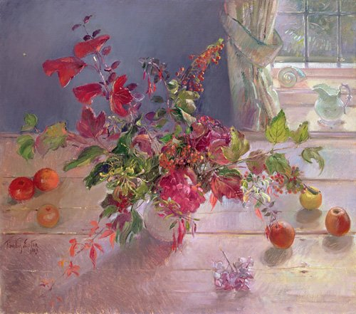 tableaux-nature-morte - Tableau -Honeysuckle and Berries, 1993- - Easton, Timothy