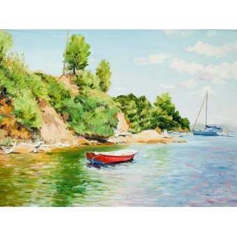 Tableaux de paysages marins - Tableau -Boats at Skiathos, Greece- - Fandino, Anthony