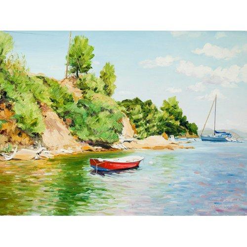 Tableau -Boats at Skiathos, Greece-