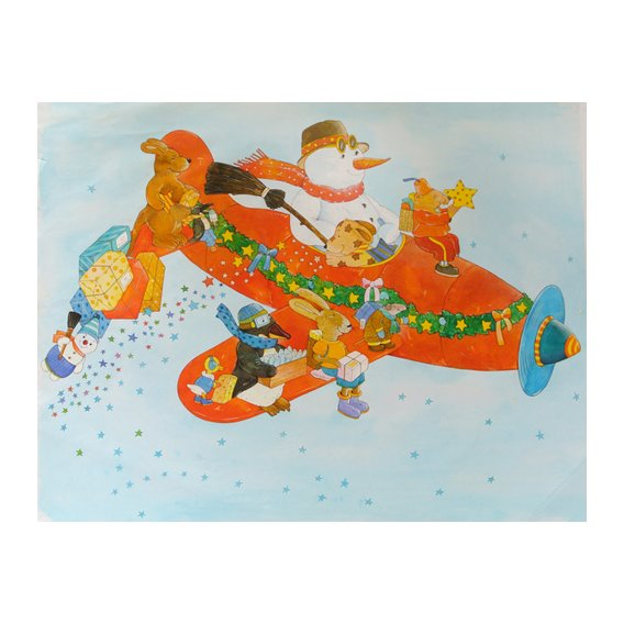 Tableau -Chistmas Airplane with Snowman-