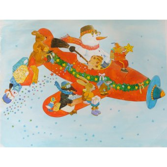 Tableaux pour enfants - Tableau -Chistmas Airplane with Snowman- - Kaempf, Christian
