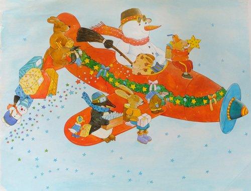 tableaux-pour-enfants - Tableau -Chistmas Airplane with Snowman- - Kaempf, Christian