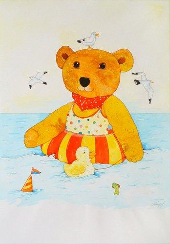 tableaux-pour-enfants - Tableau -Swimming in the Sea- - Kaempf, Christian