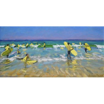 Tableaux de paysages marins - Tableau - Surf School at St. Ives (oil on canvas) - - Macara, Andrew