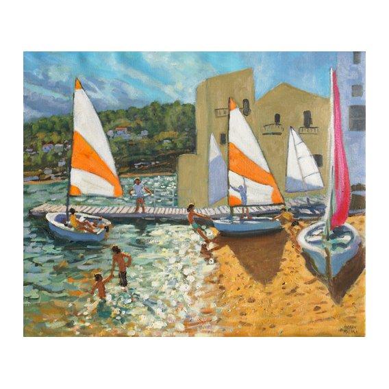 Tableau -Launching boats,Calella de Palafrugell,Spain-