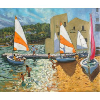 Tableaux de paysages marins - Tableau -Launching boats,Calella de Palafrugell,Spain- - Macara, Andrew