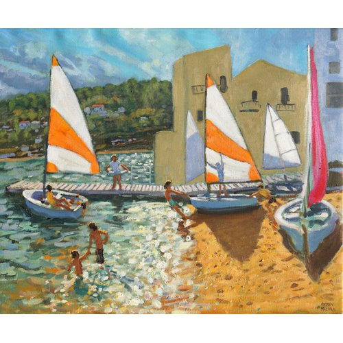 Tableau -Launching boats,Calella de Palafrugell,Spain-