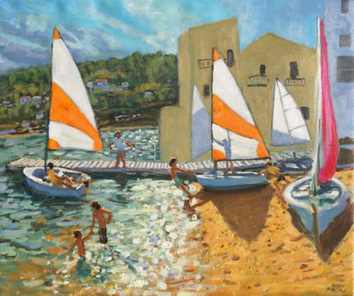 tableaux-de-paysages-marins - Tableau -Launching boats,Calella de Palafrugell,Spain- - Macara, Andrew
