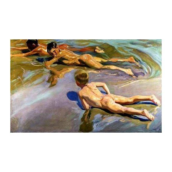 pinturas do retrato - Quadro -Niños en la playa-