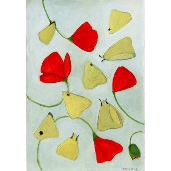 Tableaux de paysages - Tableau - Poppies & Moths, 2015 (gouache on paper) - - Moore, Megan