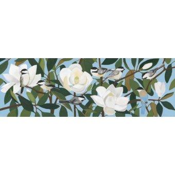 Tableaux de Fleurs - Tableau - Chickadees & Azure-Winged Magpie - - Moore, Megan