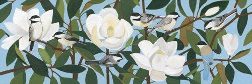 tableaux-de-paysages - Tableau - Chickadees & Azure-Winged Magpie - - Moore, Megan