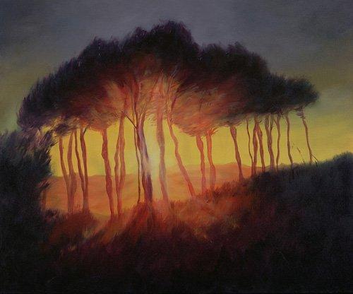 tableaux-modernes - Tableau -Wild Trees at Sunset, 2002 (oil on canvas)- - Myatt, Antonia