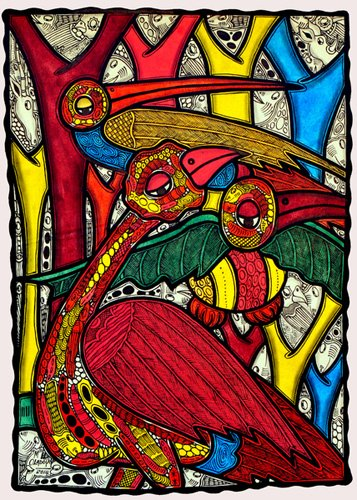 tableaux-de-faune - Tableau - Bird life, 2013 (ink on canvas) - - Oladoja, Muktair