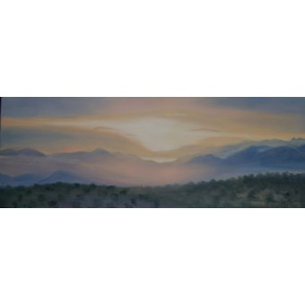 Tableaux de paysages - Tableau -Sunrise over Sierra Nevada, 2014 (oil on canvas)- - Myatt, Antonia