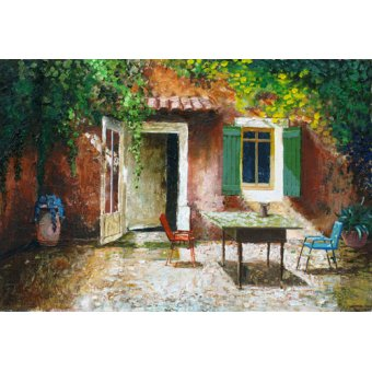 Tableaux de paysages - Tableau -French Patio, 2006 (oil on board) - - Neal, Trevor