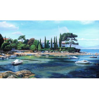 Tableaux de paysages - Tableau -Villa and Boats, South of France - - Neal, Trevor