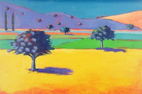 tableaux-de-paysages - Tableau - Castlemorton (acrylic on card) - - Powis, Paul