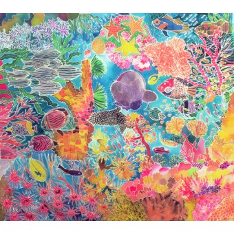 Tableaux de paysages marins - Tableau - Tropical Coral, 1993 (coloured ink on silk) - - Simon, Hilary