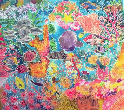 tableaux-pour-salon - Tableau - Tropical Coral, 1993 (coloured ink on silk) - - Simon, Hilary