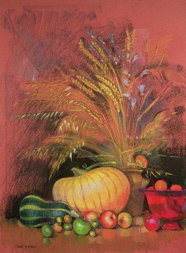 tableaux-nature-morte - Tableau - Autumn Harvest (pastel on paper) - - Spencer, Claire