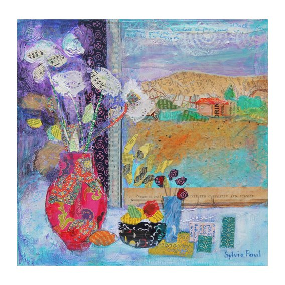 Tableau - Flowers in the Window 2014, acrylic.paper collage-