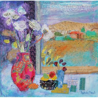 Tableaux modernes - Tableau - Flowers in the Window 2014, acrylic.paper collage- - Paul, Sylvia